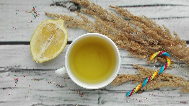 lemon in a glass of warm water