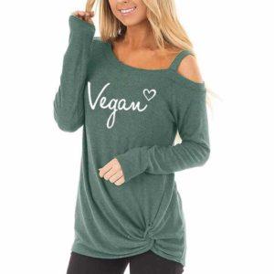 Vegan Letters Long Sleeve Oblique Shoulder T-Shirt For Women