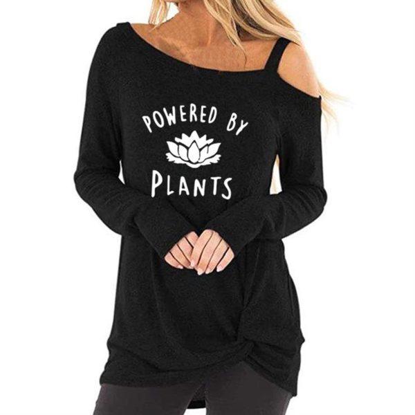 Women Long Sleeve Oblique Shoulder Vegan Powered by Plants