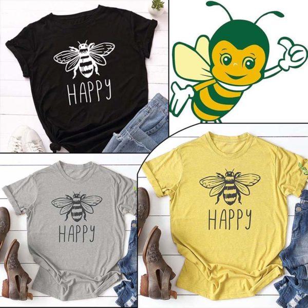 Vegan Bee Happy T-shirt