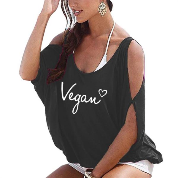 Vegan Letters Print Off The Shoulder Bat Sleeve Women Tops