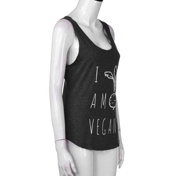 Women Sleeveless Vegan Letter Pullover Clothes